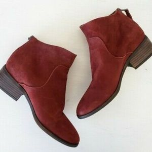 NWT Lucky Brand Red Suede Ankle Booties